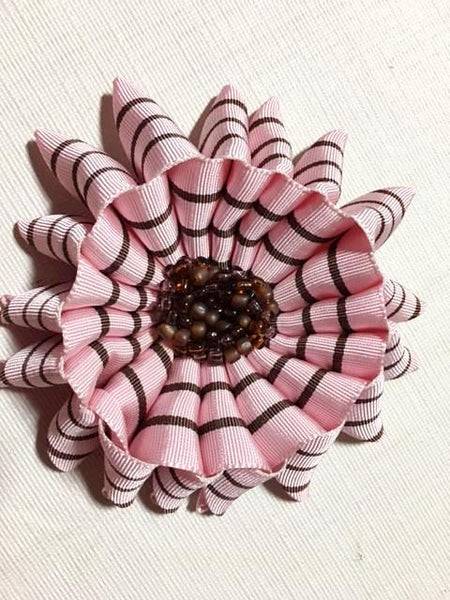 Flower brooch in Pink and Brown Ribbon