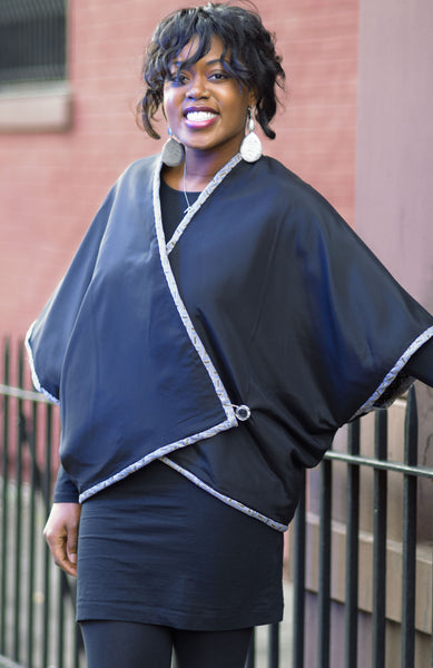 Reversible brown and black silk and cotton blend cape
