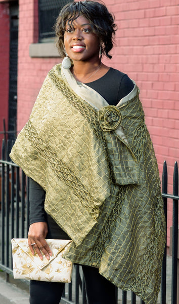 Olive Green Silk Organza and Lurex Shawl