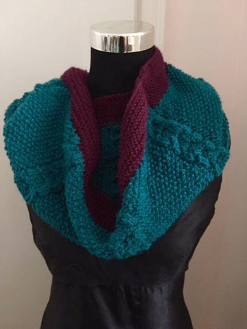 Textured Blue Green and Purple Large Knitted Cowl