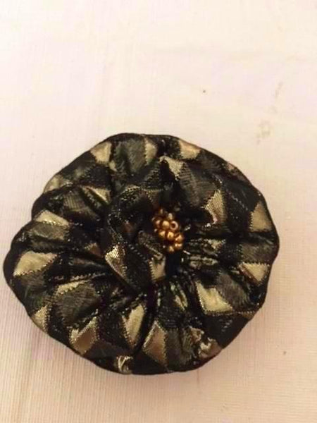 Flower Brooch in Black and Gold Brocade