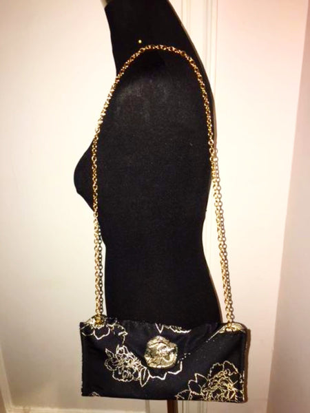 Evening Black and Gold Rose Clutch Bag