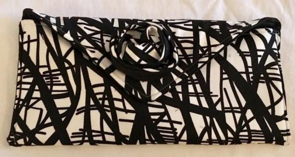 Black and White Fabric Clutch Bag