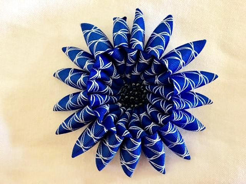 Flower brooch in Blue and White Ribbon