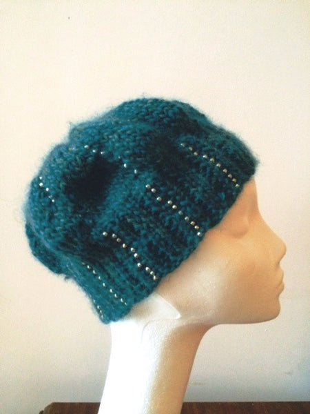 Knitted Beanie in Blue-Green with Seed Beads