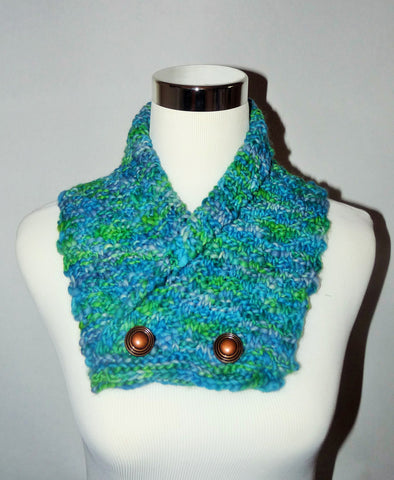 Blue Green Manos del Uruguay  Knitted Cowl