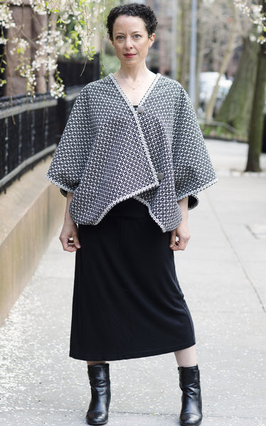 Reversible black and white brocade and silk long cape
