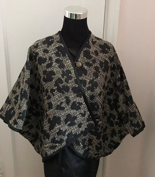 Black and brown silk and cotton long cape