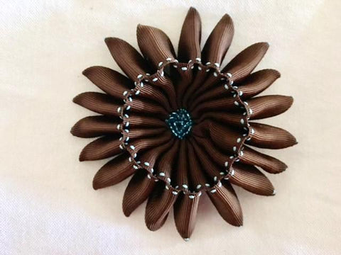 Flower Brooch in Brown Ribbon
