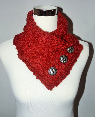 Knitted cowl in Manos del Uruguay kettle dyed cinammon brown