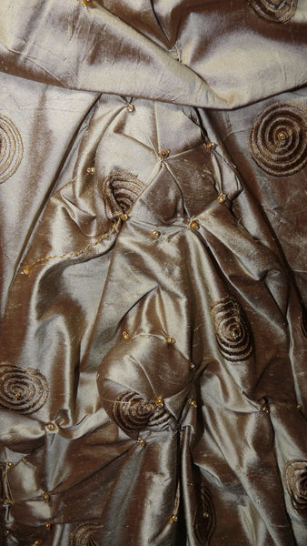 Gold Silk Shantung Long cocoon coat