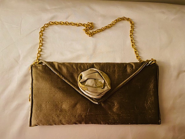 Gold Silk Clutch Bag