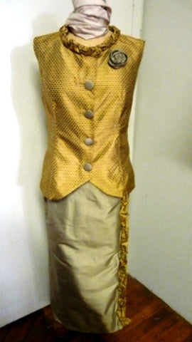 Woman's gold toned silk two piece ensemble with a vest and wrap skirt