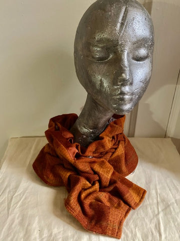 Smocked cowl in gold and orange plaid