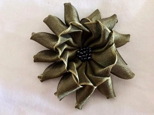 Flower Brooch in Olive Green Ribbon