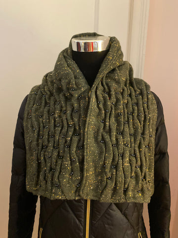 Smocked cowl in olive green tweed wool