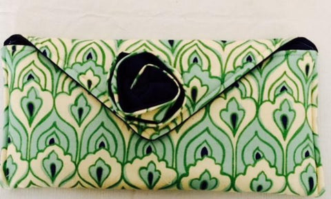 Green and White Fabric Clutch Bag
