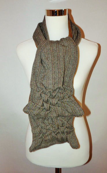 Woman's lambs wool brown and white herringbone scarf