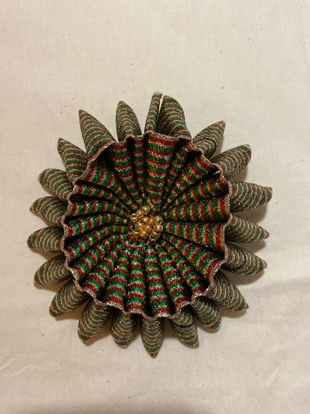 Large Flower brooch in Red, Green, and Gold Ribbon