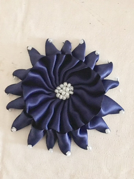 Flower Brooch in Navy Blue Ribbon