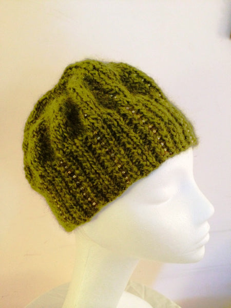 Knitted olive colored  knitted beanie with seed beads