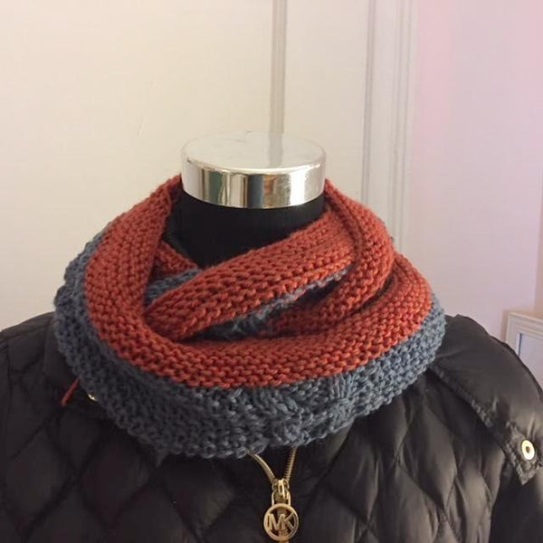 Textured Burnt Orange and  Blue-Gray Medium Knitted Cowl - Sold