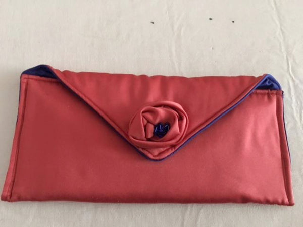 Orange and Blue Fabric Clutch Bag