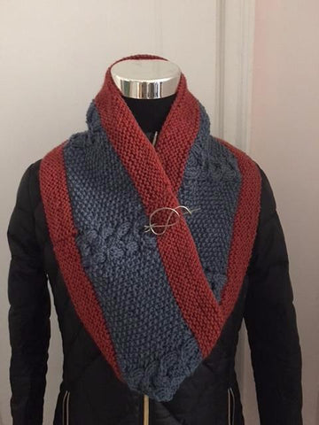 Textured Burnt Orange and  Blue-Gray Medium Knitted Cowl