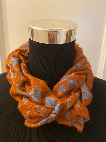 Smocked cowl in orange and blue  wool