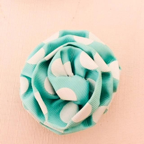 Flower Brooch in Polka Dot Aqua and White Ribbon