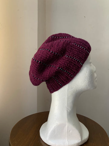 Knitted Beanie in Purple with Seed Beads