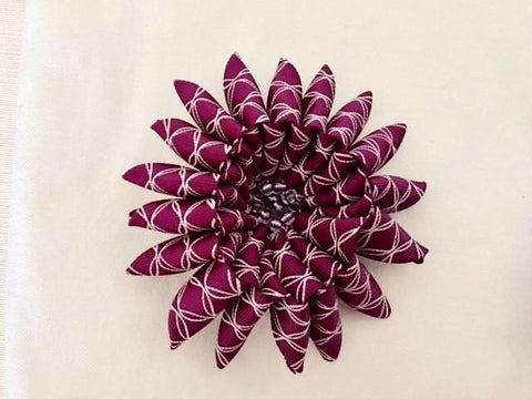 Flower Brooch in Purple and White Ribbon