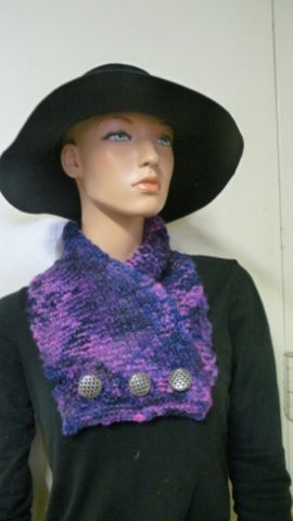 Woman's knitted purple/pink cowl in kettle-dyed wool