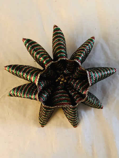 Small Flower brooch in Red, Green, and Gold Ribbon