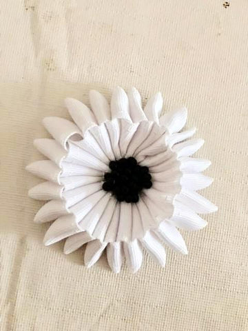 Flower Brooch in White Ribbon