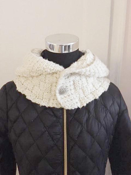 Cream colored hooded knitted cowl