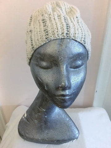 Knitted white beanie with silver seed beads