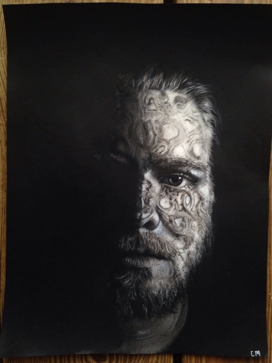 This Self-portrait is a one of a kind original Charcoal drawing by Collin Margerum. It is mono chromatic with only half of his face appearing in the light beautiful Scandinavian rose It is mono chromatic with only half of his face appearing in the light