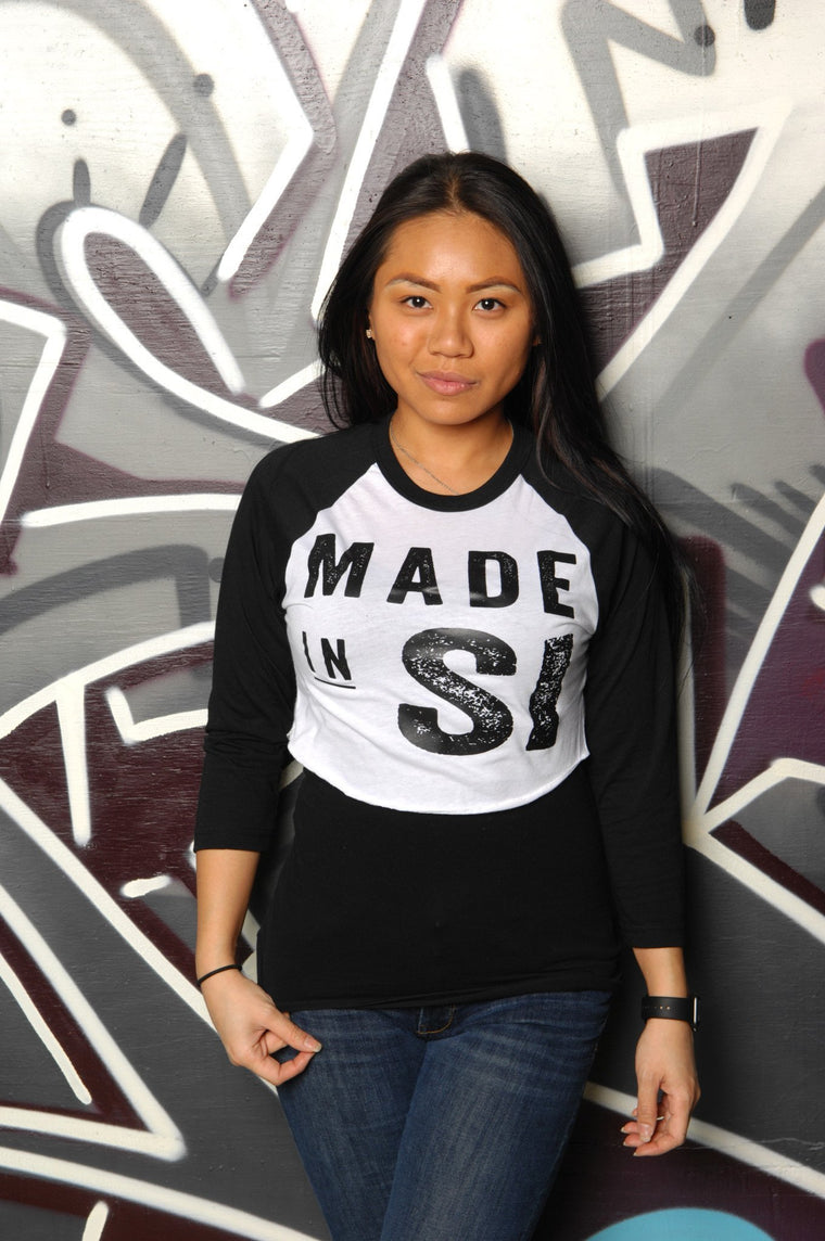 Made in Staten Island (SI) Cropped Baseball Tee