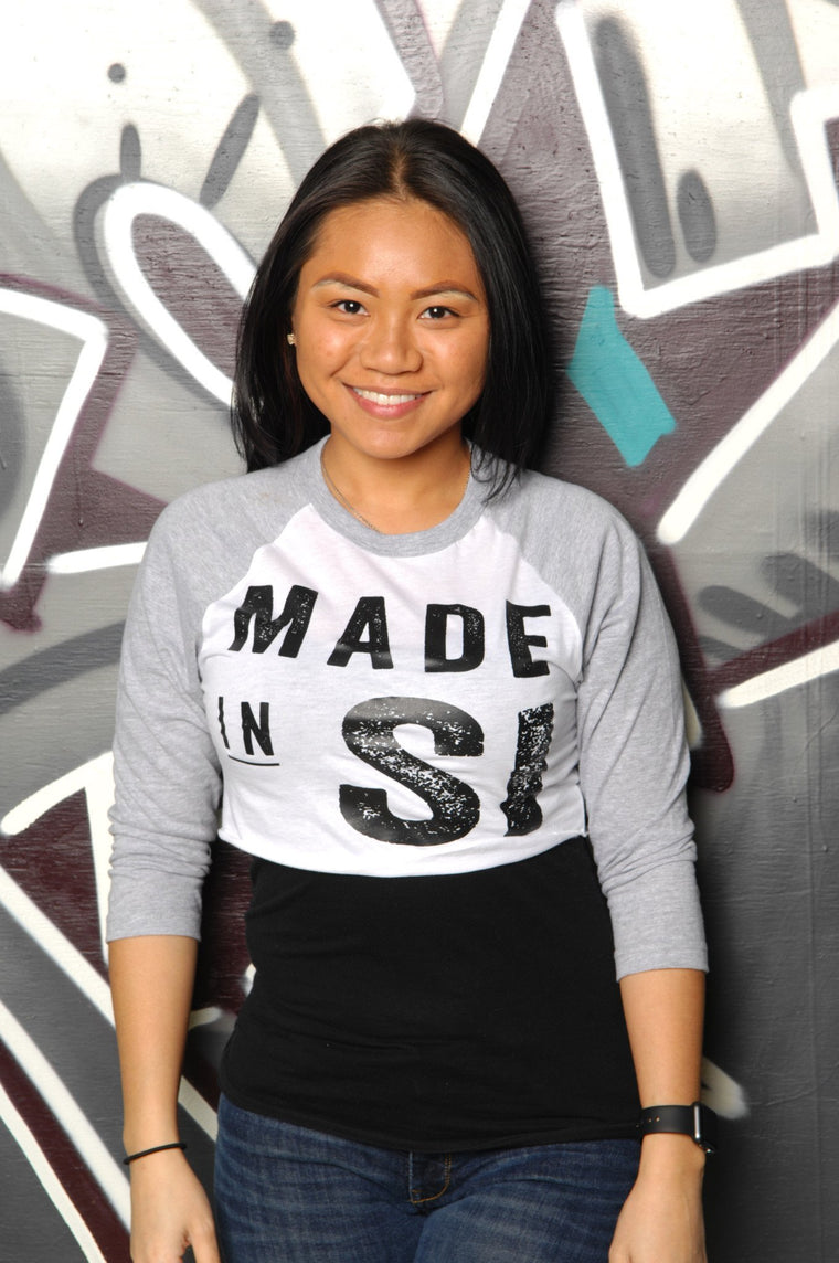 Made in Staten Island (SI) Cropped Baseball Tee - Simple Stature