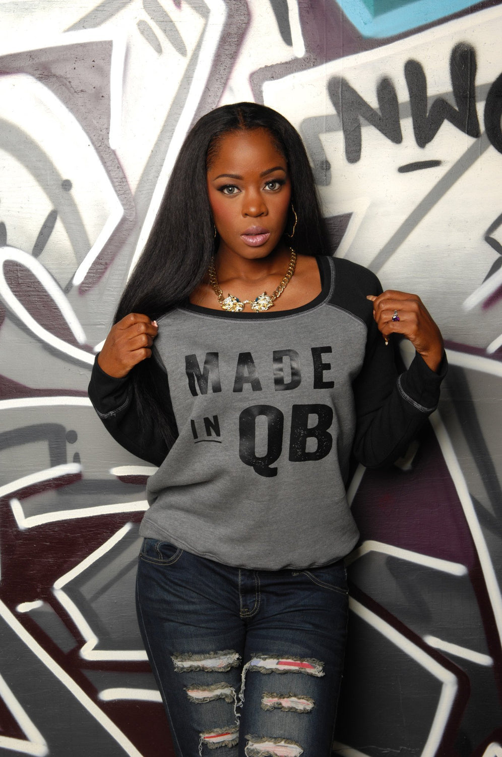Made in Queens (QB) Slouchy Sweatshirt - Simple Stature