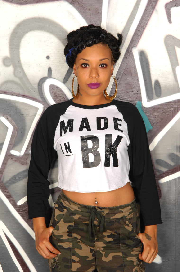 Made in Brooklyn (BK) Cropped Baseball Tee