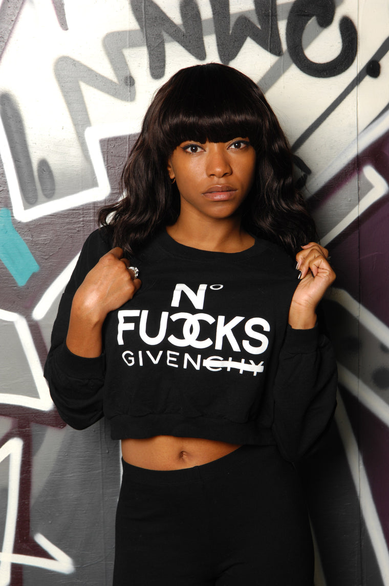 No Fucks Givenchy Crop Sweatshirt