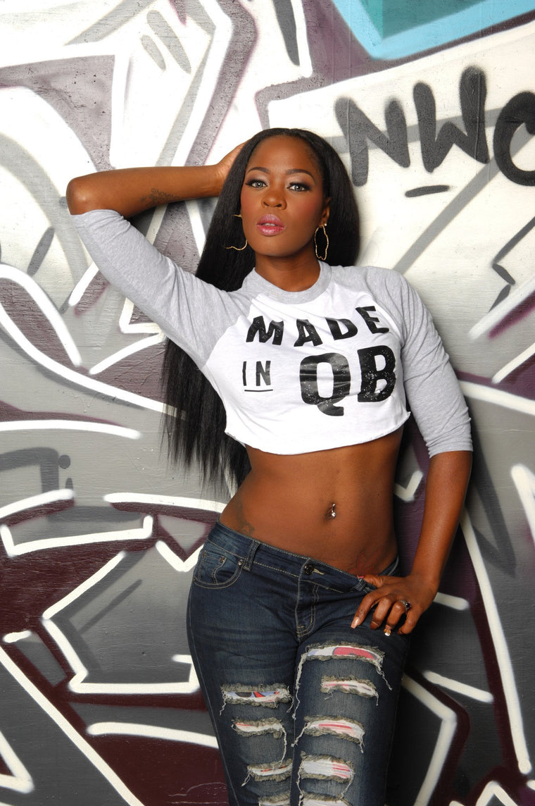 Made in Queens (QB) Cropped Baseball Tee - Simple Stature