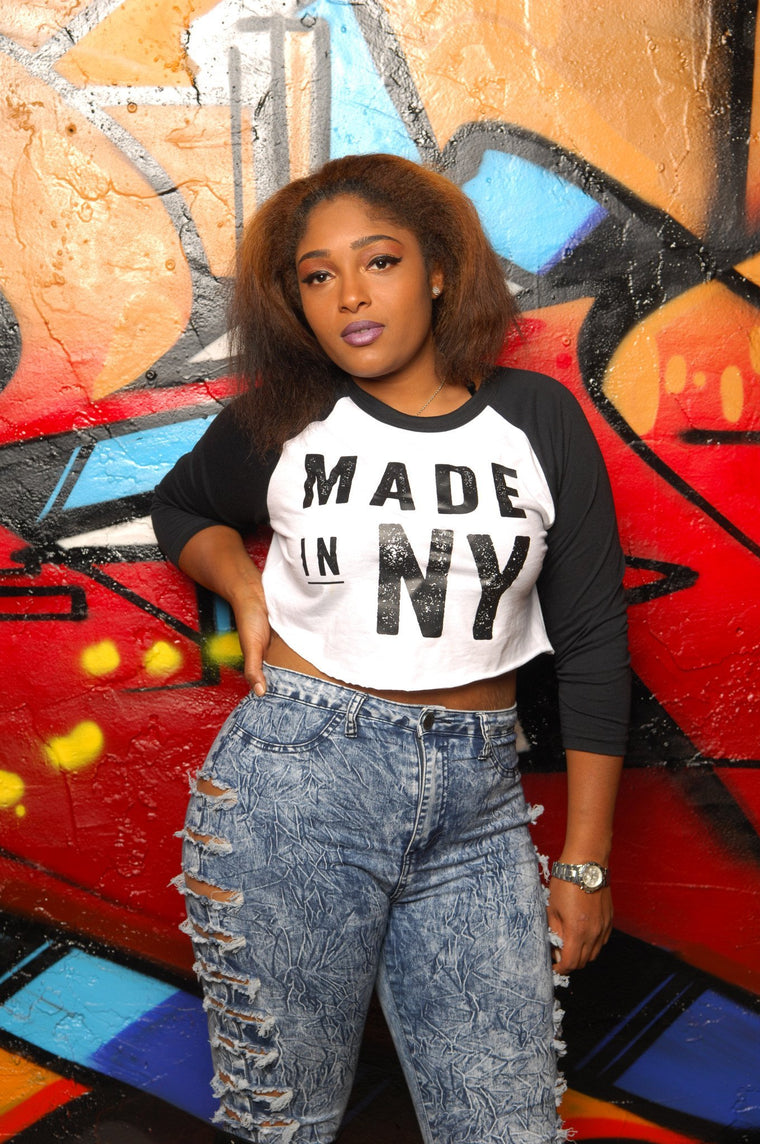 Made in New York (NY) Cropped Baseball Tee