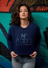 No Fucks Given Cropped Crew - Simple Stature