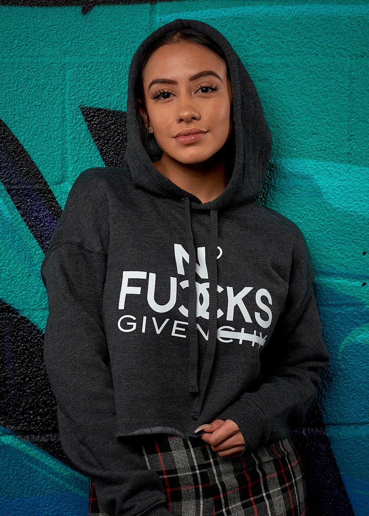 No Fucks Given Cropped Hoodie - Simple Stature