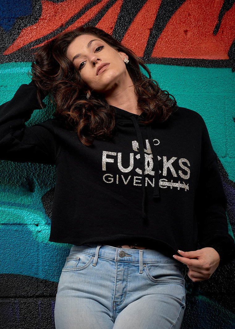 No Fucks Given Glitter Crop Hoodie