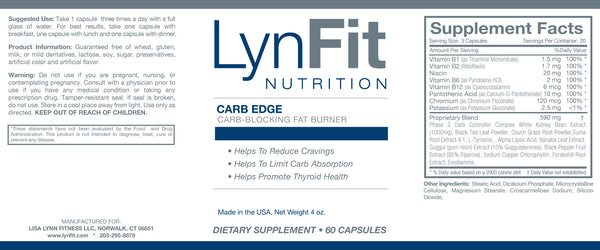 LynFit Carb Edge Nutritional Label