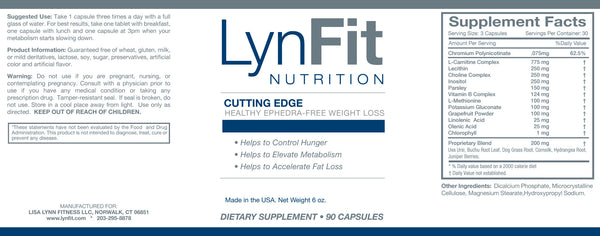 LynFit Cutting Edge Nutritional Label